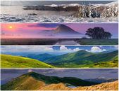 Conjunto da paisagem 4 estações — Fotografia Stock