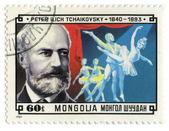 Mongolia stamp with composer Pyotr Ilyich Tchaikovsky — Stock Photo