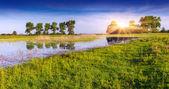 Panorama de primavera no lago — Fotografia Stock