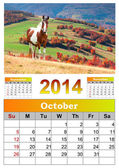 2014 Calendar. October.  — Stock Photo