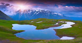 Alpine lake in the Caucasus Mountains. — Stock Photo
