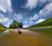 Summer trip on the river by canoe — Stock Photo