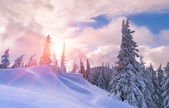 Winter sunset in the  mountains. — Stock Photo