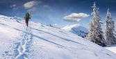 雪に覆われた山の旅. — ストック写真