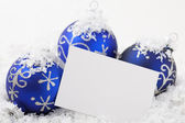 Card with Christmas Ornament has space for text — 图库照片