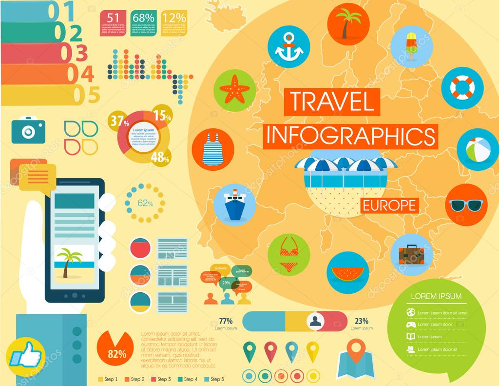 Travel infographics with data icons and elements map of Europe – Travel Maps Europe