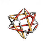Star tetrahedron of the brushes, pencils, pens - color — Stock Photo
