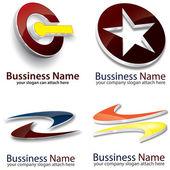 3D Look Logo Set — Stock Vector