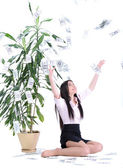Business woman and money — Stock Photo