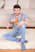 Man Drinking Juice — Stock Photo