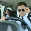 Business People In The Car — Stok fotoğraf