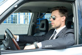 Businessman In The Car — Stock Photo