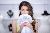Buying Wedding Dress — Stock Photo