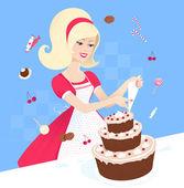 Girl baking a pie. — Cтоковый вектор