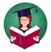 Girl student — Stock Vector