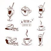 Vektör kahve seti. izole. — Stok Vektör