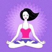 Woman. Meditation. — Stock Vector