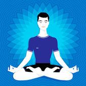 Man. Meditation. — Stock Vector