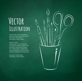 ブラシ、ペン、鉛筆、はさみ — ストックベクタ