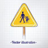 学校の警告サイン — ストックベクタ