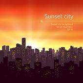 Sunset city landscape — Stock Vector