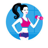 Girl with dumbbell — Stock Vector