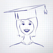 Student girl wearing graduation hat — Stock Vector