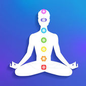 Meditation, aura and chakras — Stock Vector