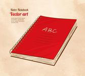 Red school notebook — Stock Vector