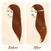Hair before and after. — Stock Vector