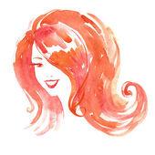 Watercolor smiling woman — Stock Vector