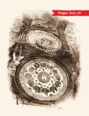 Vykort med astronomiska uret — Stockvektor