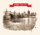 Old Prague Charles bridge view — Stock Vector