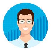 Uomo d'affari e grafico — Vettoriale Stock