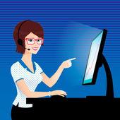 Call center operator. — Stock Vector