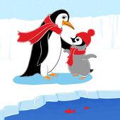 Pingvin familj — Stockvektor