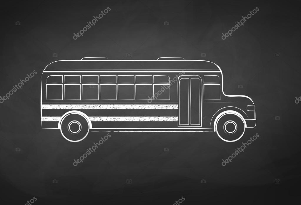 School Bus Drawing Chalkboard Drawing of a School Bus on Vector Illustration