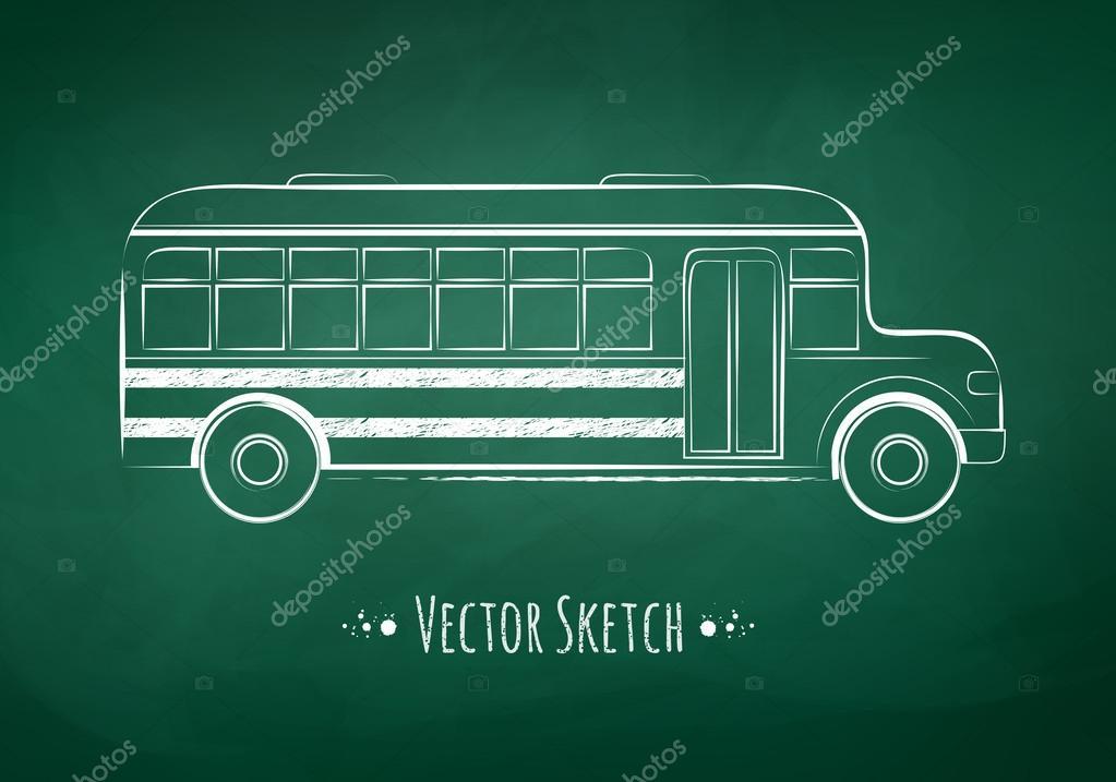 School Bus Drawing Chalkboard Drawing of a School