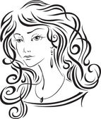 The beautiful girl with long hair — Stock Vector