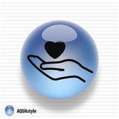 Le coeur dans la main icône — Vecteur