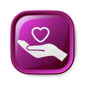 Heart in hand icon — Vetorial Stock