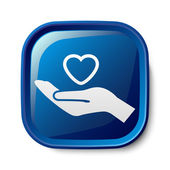 Heart in hand icon — Stockvector