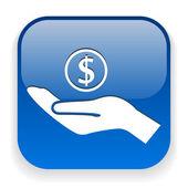 Dinero en icono de mano — Vector de stock