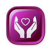 Serce w ręku ikona — Wektor stockowy