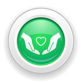 Heart in hands icon — Stock Vector
