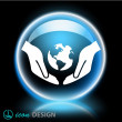 Globe in hands icon — Stock Vector #51732557