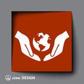 Globe in hands icon — Stock Vector