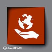 Globe in hand icon — Stock Vector