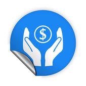 Dinero en icono de las manos — Vector de stock