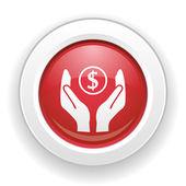Pittogramma di soldi in mano — Vettoriale Stock